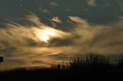 Solnedgång i Julianadorp Nederländerna Royaltyfria Foton