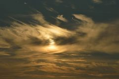 Solnedgång i Julianadorp Nederländerna Arkivfoto