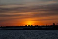 Solnedgång i Köpenhamn Royaltyfri Fotografi
