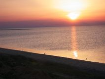 Solnedgång i Kerkennah Fotografering för Bildbyråer