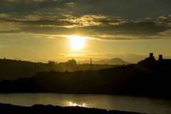 Solnedgång i kolgruva Royaltyfri Foto