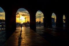 Solnedgång i Koper Royaltyfri Bild