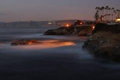 Solnedgång i La Jolla, CA Arkivbilder