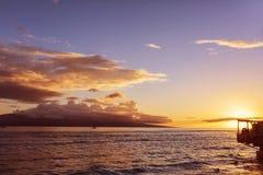 Solnedgång i Lahaina, Maui, Hawaii Fotografering för Bildbyråer