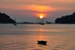 Solnedgång i Langkawi Arkivbilder