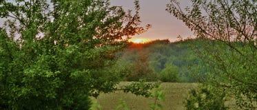 Solnedgång i Les Minerais Arkivbild