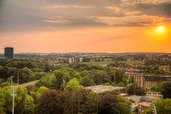 Solnedgång i Leuven royaltyfri fotografi