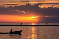 Solnedgång i Ludington Royaltyfria Bilder