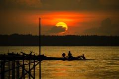 Solnedgång i Madura Fotografering för Bildbyråer