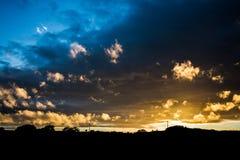 Solnedgång i Maghera i nordligt - Irland Arkivbild
