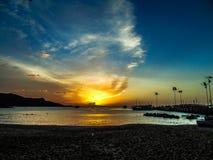 Solnedgång i Margarita Island arkivfoto
