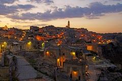 Solnedgång i Matera royaltyfri bild