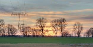 Solnedgång i Mecklenburg-Vorpommern royaltyfri fotografi