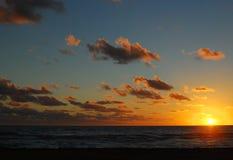 Solnedgång i Miami på November 2017 Arkivbild