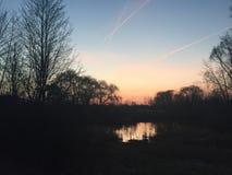 Solnedgång i Michigan Arkivfoto