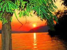 Solnedgång i Montenegro Royaltyfria Bilder