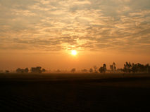 Solnedgång i morgonen Arkivbilder
