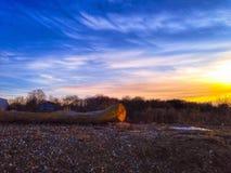 Solnedgång i Moskvaregion Fotografering för Bildbyråer