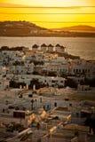 Solnedgång i Mykonos Arkivfoton
