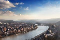 Solnedgång i Namur, Belgien Royaltyfria Bilder