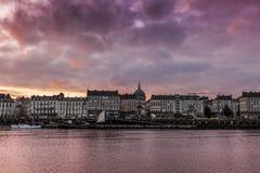 Solnedgång i Nantes Arkivfoto