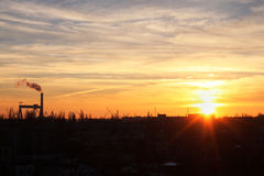 Solnedgång i Nikolaev Fotografering för Bildbyråer