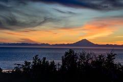 Solnedgång i Ninilchik i Alaska Amerikas förenta stater Royaltyfria Bilder