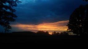 Solnedgång i nordliga Michigan arkivbild