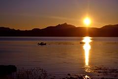 Solnedgång i nordliga Norge Royaltyfria Foton