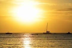 Solnedgång i Nungwi, Zanzibar Royaltyfria Foton
