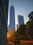 Solnedgång i NYC Arkivfoton