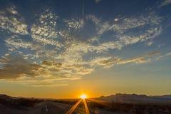 Solnedgång i nytt - Mexiko Arkivbild