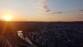Solnedgång i oldtown fotografering för bildbyråer