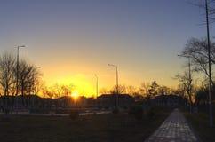 Solnedgång i parkera Dostuk Arkivbilder