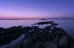 Solnedgång i Paros Royaltyfri Foto