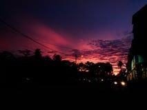 Solnedgång i Penang, Malaysia Arkivfoton
