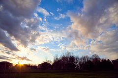Solnedgång i pianuraen Padana Royaltyfri Foto