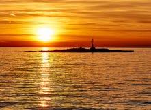 Solnedgång i Porec, Kroatien, Istria Royaltyfri Bild