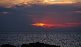Solnedgång i Portinatx Arkivfoton