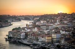 Solnedgång i Porto Royaltyfria Bilder