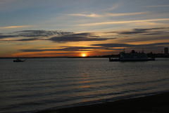 Solnedgång i Portsmouth UK Royaltyfri Fotografi