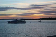 Solnedgång i Portsmouth UK Arkivfoto