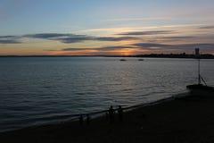 Solnedgång i Portsmouth UK Arkivfoton