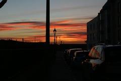 Solnedgång i Portsmouth UK Fotografering för Bildbyråer