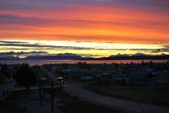 Solnedgång i Puerto Natales Royaltyfri Fotografi