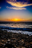 Solnedgång i PV Arkivfoto