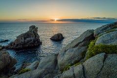 Solnedgång i Quiberon Arkivfoton