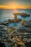 Solnedgång i Quiberon, Brittany Royaltyfria Bilder