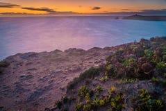 Solnedgång i Quiberon, Brittany Arkivfoto