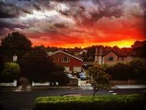 Solnedgång i rathfarnham Arkivbild